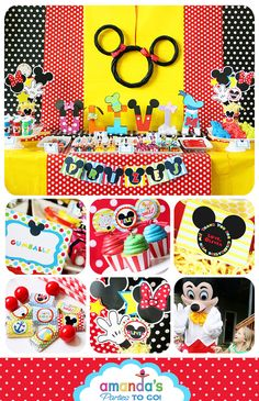 Mickey Mouse Clubhouse Party Printable Birthday - Inspired by Mickey Mouse - HUGE Party Set by Amanda's Parties TO GO. $29.00, via Etsy.