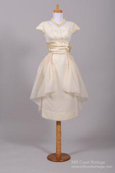 1950's Peplum Style Silk Organza Vintage Wedding Dress