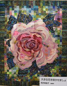 Rose quilt photo from the Tokyo Quilt Festival.Rose quilt photo from the Tokyo Quilt Festival. Patch Quilt, Applique Quilts, Watercolor Quilt, International Quilt Festival, Quilt Modernen, Quilt Art, Flower Quilts, Landscape Quilts, Contemporary Quilts