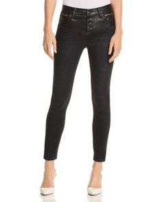 d7545c64f Current Elliott The Fused High-Rise Stiletto Jeans in Rocco With Leather  Piecing