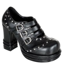 Demonia Vampire Pumps. The pumps have a 4 Inch heel with small ringlet detail around the edges. Made with Vegan Leather Material.