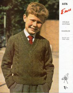 """childrens sweater knitting pattern pdf DK / chunky childs cable v neck jumper 24-30"""" DK lt worsted 8ply chunky bulky 12ply instant download by Minihobo on Etsy"""