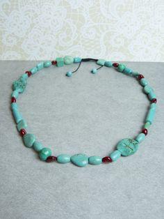Gorgeous...Echt Turquoise (Turkoois) en Koraal Edelsteen Ketting via Birdie Accessoires