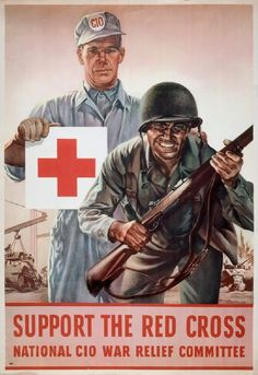A support the Red Cross poster about war.
