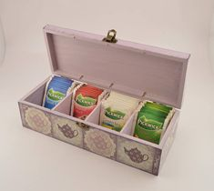 Decoupage tea box wooden box tea box kettle decoration