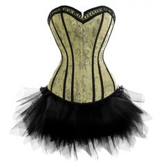 A3373 - Victorian Green Corset with Black Tutu- an idea for Steampunk Tink!