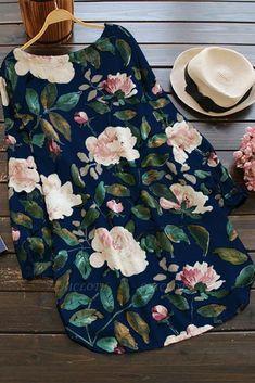 A| Cotton Floral Short Sleeve Shift Dress-Cheap Casual Dresses | Chicloth Plus Size Mini Dresses, Casual Dresses Plus Size, Casual Dresses For Women, Dress Casual, Photo Bleu, Half Sleeve Dresses, Floral Print Shirt, Mini Shirt Dress, Floral Tops