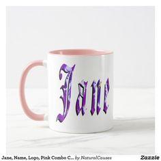 Jane, Name, Logo, Pink Combo Coffee Mug