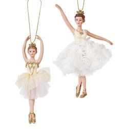 Kurt Adler Gold/White Porcelain Ballerina Ornament - Set of 2