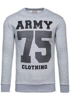 Bluza męska ATHLETIC 0593 szara SZARY | Odzież męska \ Bluzy męskie \ Bez kaptura Odzież męska \ Bluzy męskie \ Z nadrukiem | Denley - Odzieżowy Sklep internetowy | Odzież | Ubrania | Płaszcze | Kurtki