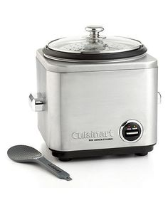 A plate of steaming, savory rice makes a meal memorable. Cuisinart's cooker features brushed stainless steel construction with chrome-plated handles and knob. Lever control with warm and cook indicato