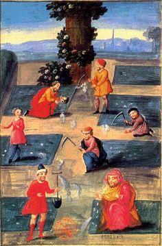"""""""I lavoratori nel Giardino"""". Dal """"Libro di Abramo l'Ebreo"""", riproduzione attribuita a Denis Molinier, XVIII sec."""