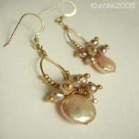 mother of pearl discs and seed pearls and tan 3mm bicones on top