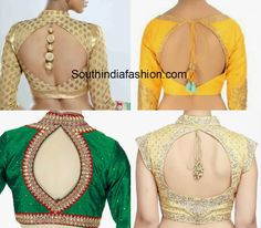 Latest saree blouse back neck designs featuring cut outs on the back. Related PostsTrendy Back Neck Designs for Plain BlouseTrendy Blouse Back Neck DesignsBlouse Back Neck PatternsCut Out Back Neck Blouse Designs Choli Designs, New Saree Blouse Designs, Blouse Designs High Neck, Simple Blouse Designs, Stylish Blouse Design, Sari Bluse, Indie Mode, Designer Blouse Patterns, Designs For Dresses