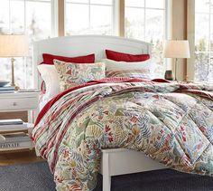 Llew Deer Reversible Denver Plaid Comforter & Sham   Pottery Barn -- Perfect for Christmas!