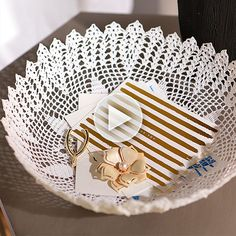 """Watch: We found your next weekend project! Get the how-to """"Doily Bowl"""" here: http://www.bhg.com/videos/m/91094371/easy-doily-bowl.htm?socsrc=bhgpin022515easydoilybowl"""