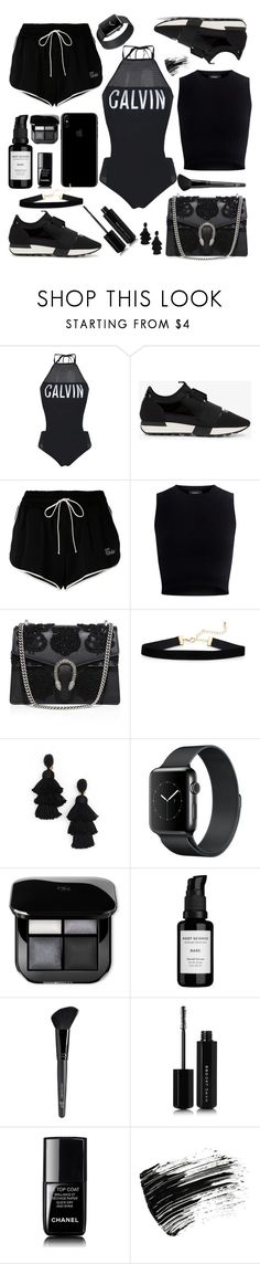 """Black Outfit"" by xhesikakuca ❤ liked on Polyvore featuring Calvin Klein, Balenciaga, Off-White, Theory, Gucci, Oscar de la Renta, Root Science, Old Navy, Marc Jacobs and Chanel"