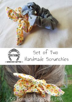 FREE SHIPPING! This gorgeous set of two scrunchies are handmade using  cotton fabric. Finished c634547924