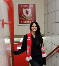 Lana Del Rey poses in the players' tunnel under the 'This Is Anfield' sign before the Barclays Premier League match between Liverpool and Tottenham Hotspur at Anfield on March 2013 in Liverpool,. Get premium, high resolution news photos at Getty Images Liverpool Girls, Liverpool Fans, Liverpool Football Club, Liverpool Captain, Liverpool England, Premier League Tickets, Premier League Matches, Soccer Fans, Football Fans