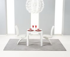 Holmes Small White High Gloss Kitchen Table and Chairs 80cm