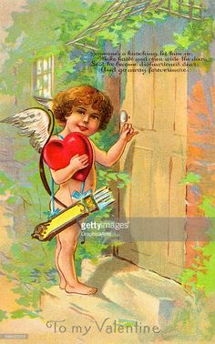 Vintage illustration of Cupid with a bow and arrow, knocking on a door on Valentine's Day; chromolithograph, 1906.