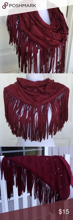 🍂Fringed Scarf🍂 Unique scarf made of faux suede. Can be worn many different ways. Adds a western look to any outfit. Looks great with a winter coat. Deep burgundy color. Never worn. Justin&Taylor Accessories Scarves & Wraps
