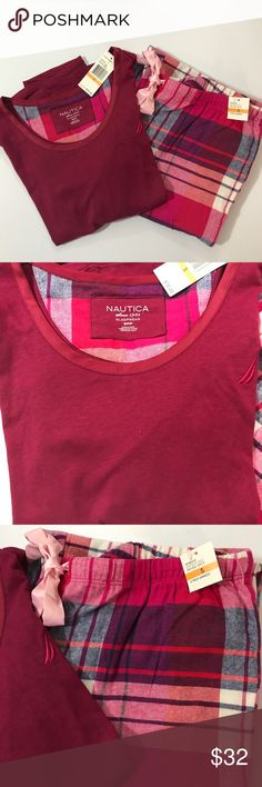 👻 Nautica Pajama Set New with tags. Small – petite. Top: bust 34 inches, length 22 inches, sleeve 17 inches. Pants: length 28 inches, leg width 9 inches, waist 15.5 inches with elastic. Gorgeous set! Nautica Intimates & Sleepwear Pajamas