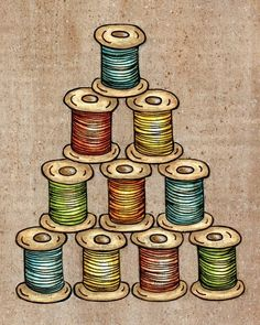 Spool of Thread 8x10 Mixed Media Reproduction by blockpartyprints, $16.00