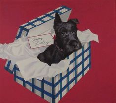 Black Scottie dog birthday present © John Atherton Woman's Home Companion July 1938 Acrylic Illustration Board 19.625 x 21.875 in. Norman Rockwell Museum Collection Facial Tissue, Dog Birthday Presents, Animal Statues, Norman Rockwell, Museum Collection, Scottie Dog, Board, Illustration, Dogs