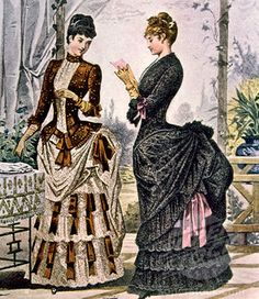 Bustle 2 The ladies are wearing the bustle corsets because the butt are of the dress is popping out. They have fashionable coiffures from 1884 in their hair. The dress on the left has the same decoration as an 1885 dress. Both women seem to be wearing tea gowns.