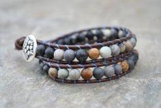 blue moon - earth - brown - blues - leather - wrap bracelet - www.bellamink.com