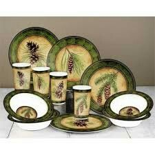 Melamine Dinnerware Sets Pine Cones Christmas Ideas Mountain Cabin Cubicle Cottage Pinecone Cottages  sc 1 st  Pinterest & Cabin Dinnerware   Rustic Dinnerware - Western Dinnerware - Pottery ...