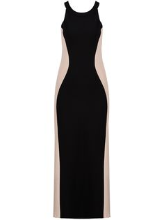 Black Contrast Apricot Sleeveless Slim Maxi Dress 15.67 An excellent optical illusion for a day when you're feeling chubby.
