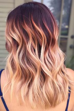 23 Beste Herbsthaarfarben & Ideen für 2018 Ombre Hair red hair with blonde ombre Blond Ombre, Brown Ombre Hair, Blonde Hair With Red Highlights, Brown To Blonde Ombre Hair, Dark Hair, Dyed Hair Ombre, Ombre Highlights, Blonde To Burgundy, Short Ombre