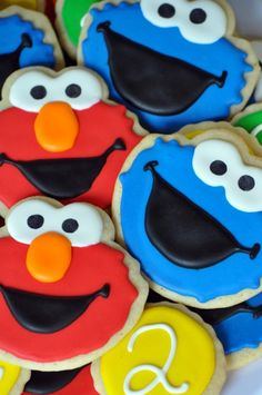 "Sesame Street cookies - just like the ones I made for Jacob's 2nd birthday but with the ""2"" - so cute!"