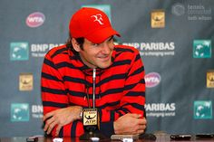 Roger Federer in all red at the Indian Wells event in 2012.