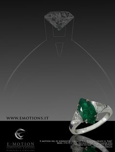 A Natural Marquise saturated Emerald and Diamonds Ring from E-motion #emotion #emerald #gemstones #diamonds #luxury