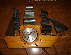 "MASTERCRAFTER VINTAGE SHIP CLOCK ""YANKEE CLIPPER"" MID CENTURY MODERN BLOND WOOD"