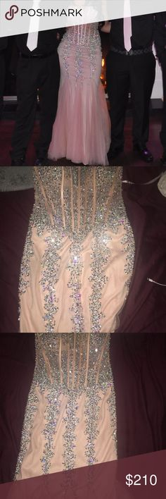 Jovani Prom/ Sweet 16 Dress Size 8 , Mermaid style prom dress. Blush pink color with silver sequins Jovani Dresses Prom