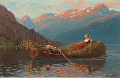 "HANS DAHL, ""Heimfahr am abend, Westnorwegen"" (On the way back from work, Western Norway)."