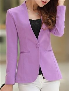 02d7b573329 Ericdress Simple Candy Color Long Sleeves Blazers Cheap Blazers