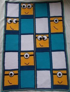 My places: Minion Blanket, crochet instructions, free pattern - updated, #haken, gratis patroon (Engels), deken, plaid, Minion, kraamcadeau