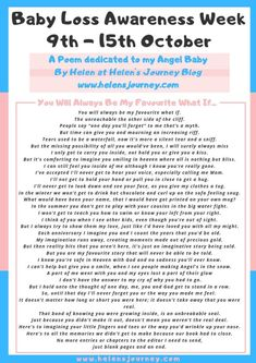 A Poem Dedicated to my Angel Baby ~ 'Baby Loss Awareness Week' to October – 👣 Helen's Journey 👣 Babyloss Awareness, Miscarriage Awareness, Infant Loss Awareness, Kids Health, Children Health, Baby Loss Poems, Ectopic Pregnancy, Thing 1, Writing Poetry