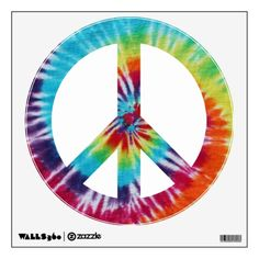 Rainbow Spiral Peace Sign Room Decal
