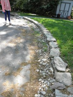 Stone curb to wrap around your walkway | Drainage and Erosion Solutions #landscaping