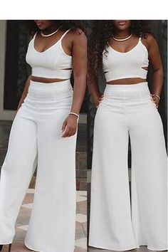 Lovely Sexy V Neck Spaghetti Strap Sleeveless Hollow-out White Two-piece Pants Set We Miss Moda is a leading Women's Clothing Store. Offering the newest Fashion and Trending Styles. Two Piece Outfits Pants, White Two Piece Outfit, Two Piece Pants Set, All White Outfit, All White Party Outfits, Classy Outfits, Casual Outfits, Cute Outfits, Fashion Outfits