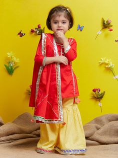 Red Cotton Yellow Sharara Suit - Set of 3 Girls Fancy Dresses, Baby Summer Dresses, Wedding Dresses For Girls, Little Girl Dresses, Summer Baby, Baby Dresses, Baby Frock Pattern, Baby Dress Patterns, Summer Patterns
