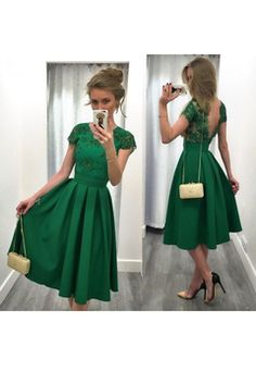 3a1b8b57b4e0 2017 vestidos de baile una línea de satén cuchara con Applique té de  longitud abierta de