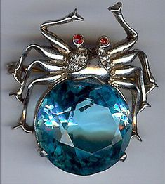Big Blue Bug Insect Faceted Rhinestone Silver Tone C Clasp//Pendant Brooch Gift
