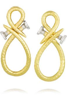 David Webb Tool Chest 18-karat gold, platinum and diamond clip earrings | NET-A-PORTER